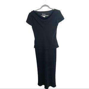 S.L. Fashions Short Sleeve Drape Neck Dress Black